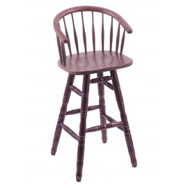 Captains Back Dark Cherry Finish Oak Bar Stool with Turned Legs
