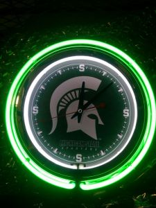 Michigan State University Spartans Neon Clock