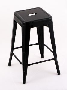 """4 Pack - 24"""" Seat Height Indoor Outdoor Backless Black Bar Stools"""