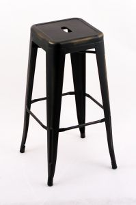"""4 Pack - 30"""" Seat Height Indoor Outdoor Backless Distressed Black Gold Bar Stools"""
