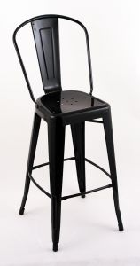 """4 Pack - 30"""" Seat Height Indoor Outdoor Bar Stools with Black Backs"""
