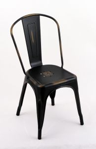 """4 Pack - 18"""" Seat Height Indoor Outdoor Chairs Distressed Black and Gold with Backs"""