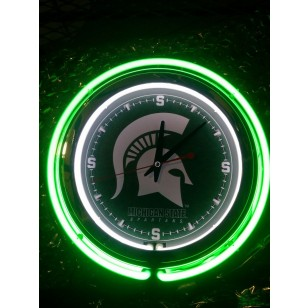 15 Quot Double Neon Clock With Michigan State University