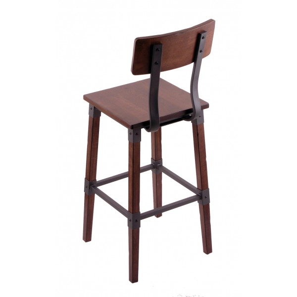 Frontier Industrial Bar Stool With Back