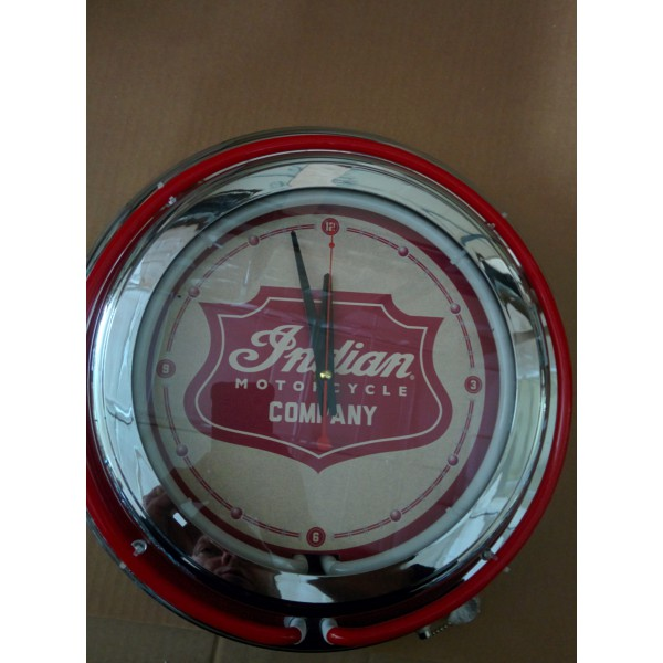 15 Quot Double Neon Clock With Indian Motorcycle Shield From