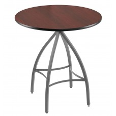215 Anodized Nickel Table Base with Optional Round Dark Cherry Top