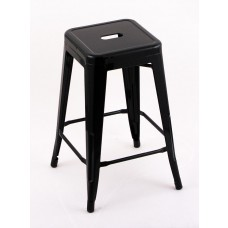 "4 Pack - 24"" Seat Height Indoor Outdoor Backless Black Bar Stools"