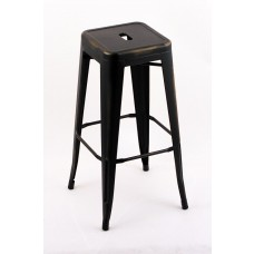 "4 Pack - 30"" Seat Height Indoor Outdoor Backless Distressed Black Gold Bar Stools"