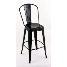 "4 Pack - 30"" Seat Height Indoor Outdoor Bar Stools with Black Backs"