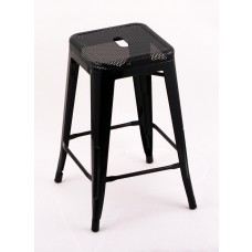 "4 Pack - 24"" Seat Height Indoor Outdoor Backless Black Mesh Bar Stools"