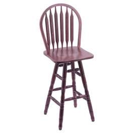 Arrow Back  Dark Cherry Finish Oak Bar Stool Turned Legs