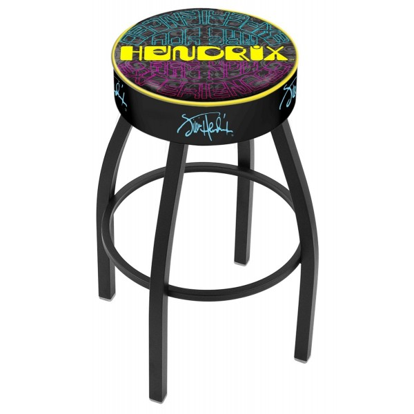 """25"""" L8B1 - 4"""" Jimi Hendrix - AYE (Mirrored) Cushion Seat with Black Wrinkle Base Swivel Bar Stool"""