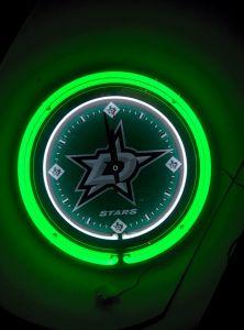 """Dallas Stars 15"""" Neon Clock"""