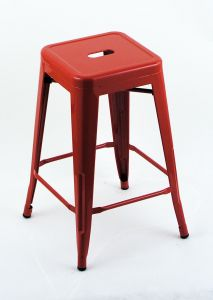 "4 Pack - 24"" Seat Height Indoor Outdoor Backless Red Bar Stools"